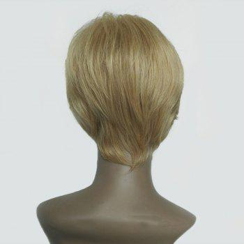 Short Side Bang Straight Human Hair Wig -  COLORMIX