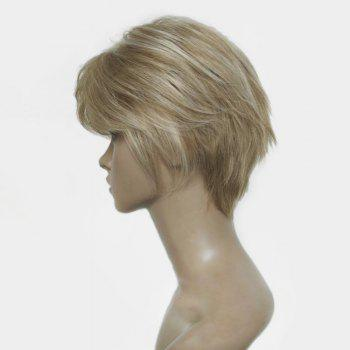 Short Side Bang Colormix Fluffy Layered Straight Human Hair Wig -  COLORMIX