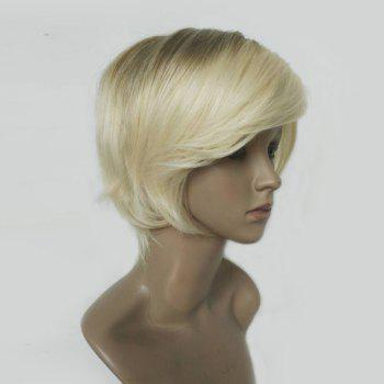 Short Inclined Bang Straight Colormix Human Hair Wig - COLORMIX