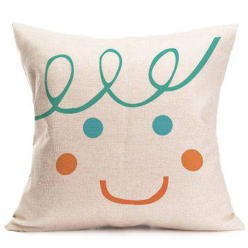 Home Decor Smile Face Patterned Throw Pillow Case - W18 INCH * L18 INCH W18 INCH * L18 INCH