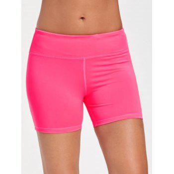 Stretch Tight Shorts with Pocket - BRIGHT PINK XL