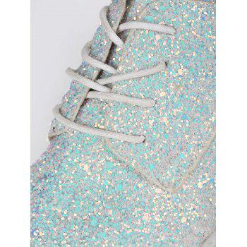 Glitter Low Top Tie Up Flat Shoes - Blanc 38