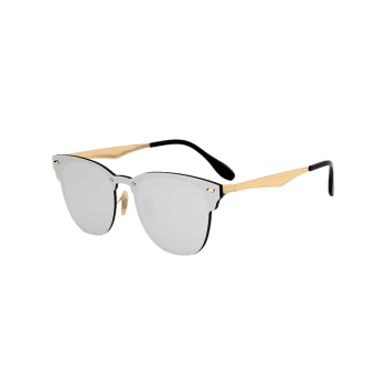 Metallic Panel Mirror Wayfarer Sunglasses -  SILVER