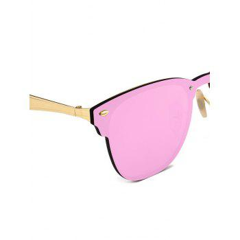 Metallic Panel Mirror Wayfarer Sunglasses -  PINK