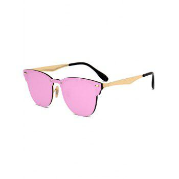Metallic Panel Mirror Wayfarer Sunglasses - PINK PINK