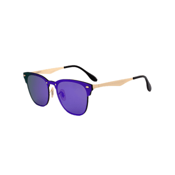 Metallic Panel Mirror Wayfarer Sunglasses - LARKSPUR