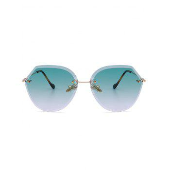 Metallic Legs Ombre Lens Rimless Sunglasses -  LIGHT GREEN