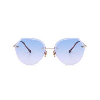 Metallic Legs Ombre Lens Rimless Sunglasses -  LIGHT BLUE