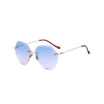 Metallic Legs Ombre Lens Rimless Sunglasses - LIGHT BLUE LIGHT BLUE