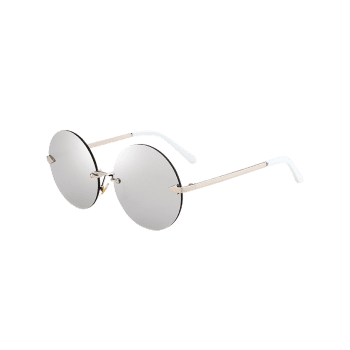 Round Jelly Lens Rimless Sunglasses -  SILVER
