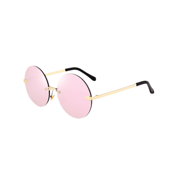 Round Jelly Lens Rimless Sunglasses - CAMEO