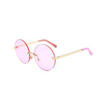 Round Jelly Lens Rimless Sunglasses - LIGHT PINK LIGHT PINK