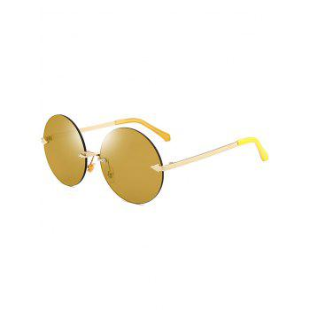 Round Jelly Lens Rimless Sunglasses - LUXURY GOLD COLOR LUXURY GOLD COLOR