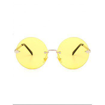 Round Jelly Lens Rimless Sunglasses - LIGHT YELLOW