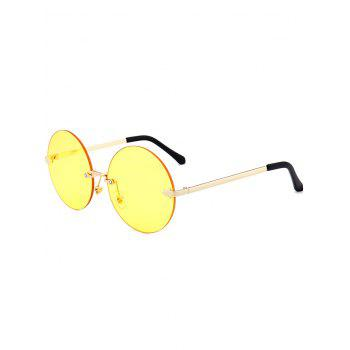 Round Jelly Lens Rimless Sunglasses - LIGHT YELLOW LIGHT YELLOW
