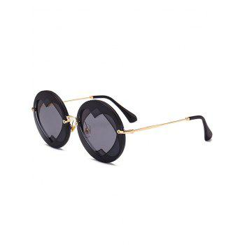 Double Reverse Heart Insert Round Sunglasses - BLACK BLACK