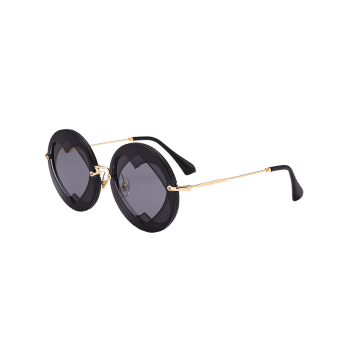 Double Reverse Heart Insert Round Sunglasses - BLACK