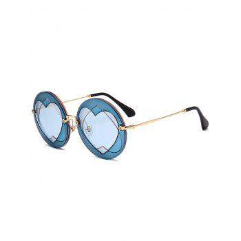 Double Reverse Heart Insert Round Sunglasses - BLUE BLUE