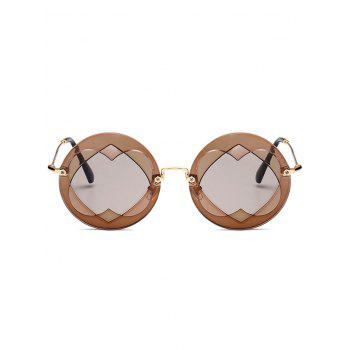 Double Reverse Heart Insert Round Sunglasses - CHOCOLATE