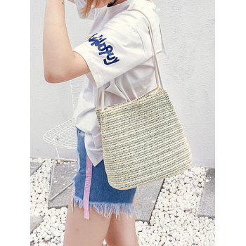Straw Bucket Shoulder Bag - OFF WHITE