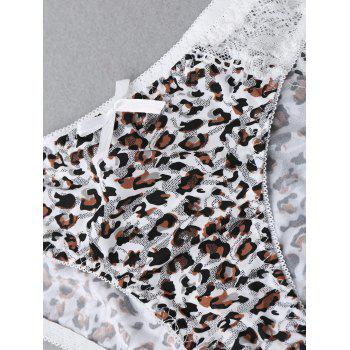 Lace Panel Leopard Panties - LEOPARD L