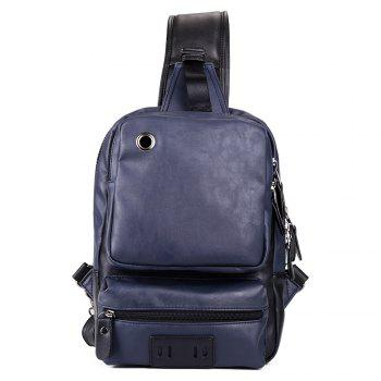 Eyelet PU Leather Chest Bag - BLUE BLUE