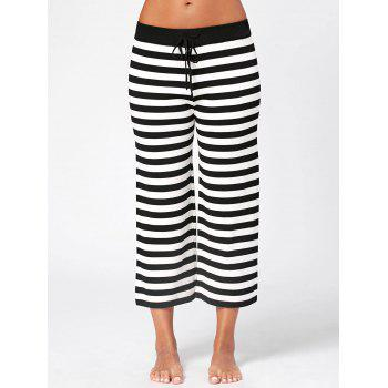 Striped Knit Wide Leg Lounge Pants - WHITE/BLACK WHITE/BLACK