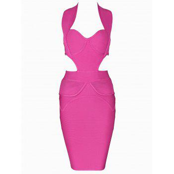 Sweetheart Neck Cut Out Bandage Dress - ROSE RED ROSE RED