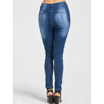 High Waisted Embroidered Ripped Jeans - BLUE L