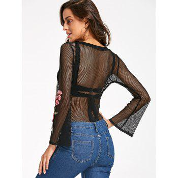 See Thru Mesh Embroidery Bodysuit - M M