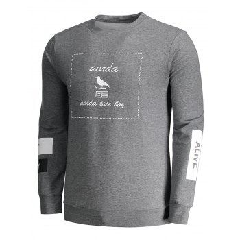 Crew Neck Graphic Marled Sweatshirt - DEEP GRAY XL