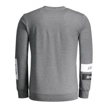 Crew Neck Graphic Marled Sweatshirt - DEEP GRAY L