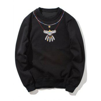 Crew Neck Embroidered Flocking Sweatshirt - BLACK BLACK