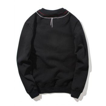 Crew Neck Embroidered Flocking Sweatshirt - BLACK M