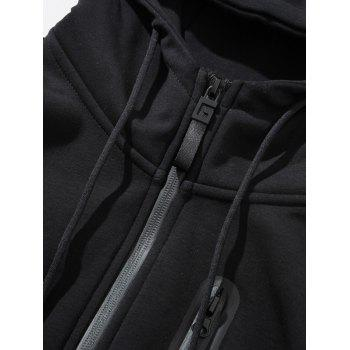 Zip Up Flocking Hoodie - BLACK 3XL