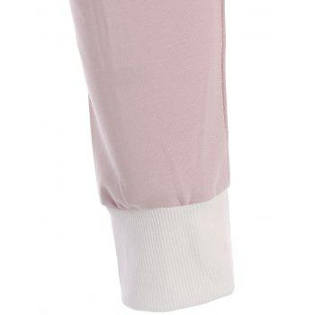Contrast Trim Front Pocket Long Sleeve T-shirt - SHALLOW PINK 3XL