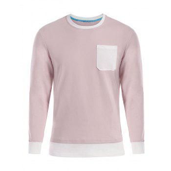 Contrast Trim Front Pocket Long Sleeve T-shirt - SHALLOW PINK SHALLOW PINK