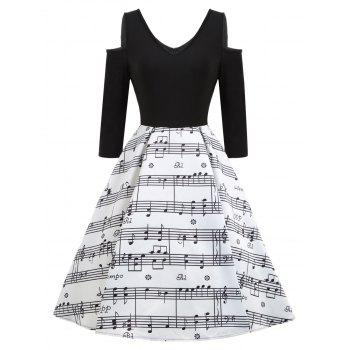 Cold Shoulder Music Note Print Vintage Dress - WHITE AND BLACK WHITE/BLACK
