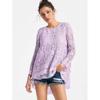Long Sleeve Pleated High Low Lace Blouse - LIGHT PURPLE M
