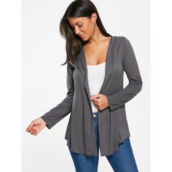 Long Sleeve Hooded T-shirt with One Buckle - GRAY GRAY