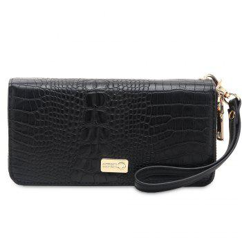 Zip Around Crocodile Print Wallet - BLACK HORIZONTAL