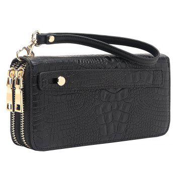 Zip Around Crocodile Print Wallet - HORIZONTAL HORIZONTAL