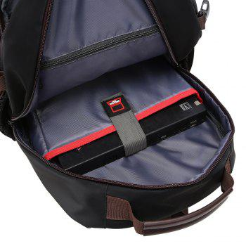 Contrast Color Multi Buckles Laptop Backpack - BLACK VERTICAL