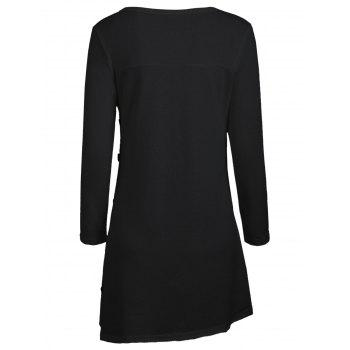 High Low Buttoned Tunic Sweater - BLACK BLACK