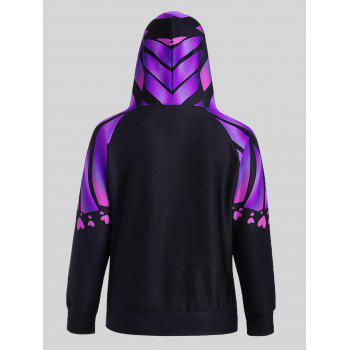 Butterfly Print Plus Size Kangaroo Hoodie - PURPLE 5XL