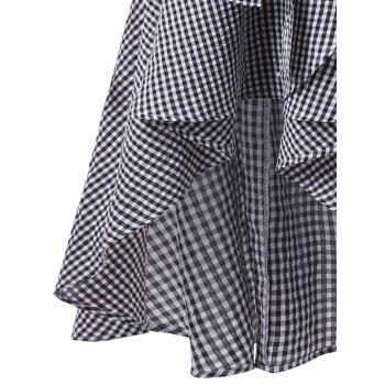 Lantern Sleeve High Low Plaid Surplice Dress - CHECKED CHECKED