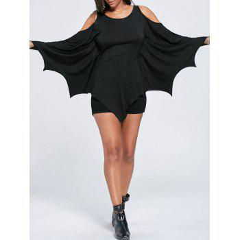 Halloween Cold Shoulder Batwing Top