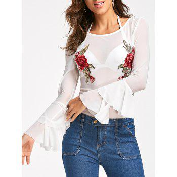 Embroidery Sheer Layered Flare Sleeve Bodysuit - WHITE 2XL