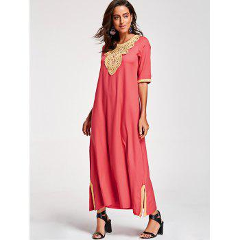 Embroidery Ankle Length Bohemian Dress - WATERMELON RED WATERMELON RED