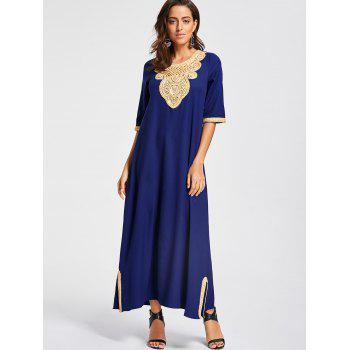 Embroidery Ankle Length Bohemian Dress - COLOR BLUE L